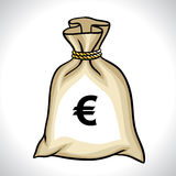 Money bag with euro sign vector illustration Stock Photos