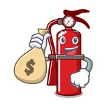 With money bag fire extinguisher character cartoon. Vector illustration Royalty Free Stock Photos