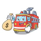 With money bag fire truck character cartoon. Vector illustration Stock Photo