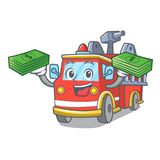 With money bag fire truck mascot cartoon. Vector illustration Stock Image