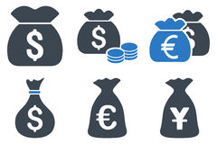 Money Bag Flat Glyph Icons. Money Bag glyph icons. Icon style is bicolor smooth blue flat symbols with rounded angles on a white background royalty free stock images