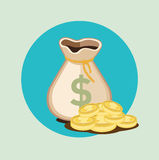 Money bag flat icon with golden coins Royalty Free Stock Images