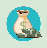 Money bag flat icon with paper bills Royalty Free Stock Photo