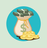 Money bag flat icon with paper bills and golden coins Royalty Free Stock Image