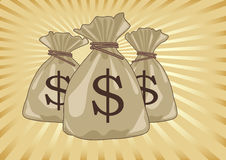 Money Bag Full of Dollars Coins Royalty Free Stock Images