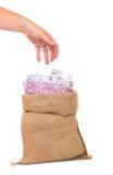 Money bag full with euro bills Stock Image