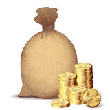 Money bag and gold coins Stock Image