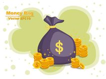 Money bag and gold coins vector EPS10 icon with dollar sign. col. Or and Background. Gift and decorative element. vector illustration Royalty Free Stock Image