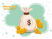 Money bag and gold coins vector EPS10 icon with dollar sign. col. Or and Background. Gift and decorative element. vector illustration Stock Image