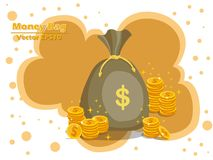 Money bag and gold coins vector EPS10 icon with dollar sign. col. Or and Background. Gift and decorative element. vector illustration Royalty Free Stock Photography