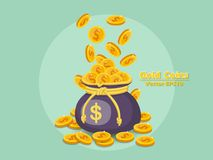 Money bag and gold coins vector EPS10 icon with dollar sign. col. Or and Background. Gift and decorative element. vector illustration Stock Images