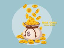 Money bag and gold coins vector EPS10 icon with dollar sign. col. Or and Background. Gift and decorative element. vector illustration Royalty Free Stock Photo