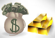 Money bag with golden bars Stock Photo