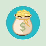 Money bag with golden coins flat icon Royalty Free Stock Photos