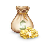 Money bag with golden coins on the side isolated Royalty Free Stock Photos