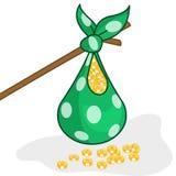 Money bag  of golden dollar coin Royalty Free Stock Photos