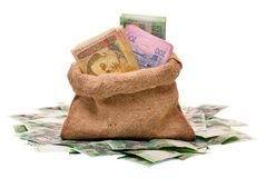 Money bag with hryvna Stock Images