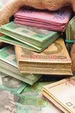 Money bag with hryvna Royalty Free Stock Photos