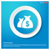 Money Bag icon Abstract Blue Web Sticker Button. Free vector icon - This Vector EPS 10 illustration is best for print media, web design, application design Stock Images