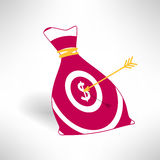 Money bag icon with aim and arrow. Money earning. Concept. Vector illustration Stock Photography