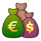 Money bag icon, flat style Royalty Free Stock Images