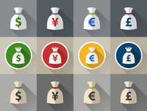 Money bag icon set with currency symbol Stock Images