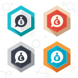 Money bag icons. Dollar, Euro, Pound and Yen. Hexagon buttons. Money bag icons. Dollar, Euro, Pound and Yen speech bubbles symbols. USD, EUR, GBP and JPY Stock Photos