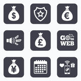 Money bag icons. Dollar, Euro, Pound and Yen. Royalty Free Stock Photo