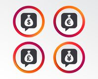 Money bag icons. Dollar, Euro, Pound and Yen. Money bag icons. Dollar, Euro, Pound and Yen speech bubbles symbols. USD, EUR, GBP and JPY currency signs Royalty Free Stock Photo