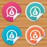 Money bag icons. Dollar, Euro, Pound and Yen. Stock Photos
