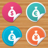 Money bag icons. Dollar, Euro, Pound and Yen. Stock Images