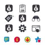 Money bag icons. Dollar, Euro, Pound and Yen. royalty free illustration