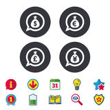 Money bag icons. Dollar, Euro, Pound and Yen. Royalty Free Stock Images