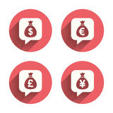 Money bag icons. Dollar, Euro, Pound and Yen Stock Photos