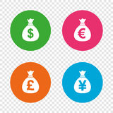Money bag icons. Dollar, Euro, Pound and Yen. Stock Photography