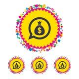 Money bag icons. Dollar, Euro, Pound and Yen. Stock Images