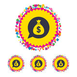 Money bag icons. Dollar, Euro, Pound and Yen. Royalty Free Stock Images