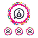 Money bag icons. Dollar, Euro, Pound and Yen. Stock Photo