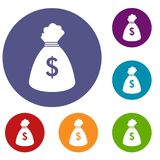 Money bag icons set. In flat circle reb, blue and green color for web Stock Photo