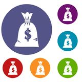 Money bag icons set. In flat circle reb, blue and green color for web Stock Photography