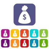 Money bag icons set. Vector illustration in flat style In colors red, blue, green and other Stock Images