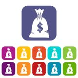 Money bag icons set. Vector illustration in flat style in colors red, blue, green, and other royalty free illustration
