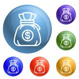 Money bag icons set vector vector illustration