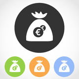 Money bag icons. Vector illustration. Royalty Free Stock Photography