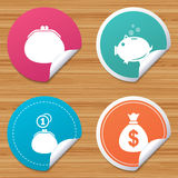 Money bag icons. Wallet and piggy bank symbols. Round stickers or website banners. Wallet with cash coin and piggy bank moneybox symbols. Dollar USD currency Stock Photography
