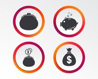Money bag icons. Wallet and piggy bank symbols. Wallet with cash coin and piggy bank moneybox symbols. Dollar USD currency sign. Infographic design buttons Stock Photos
