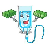 With money bag infussion bottle mascot cartoon. Vector illustration Royalty Free Stock Photo