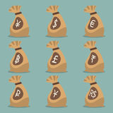 Money bag with international currency symbol. Stock Image
