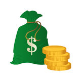 Money bag isolated icon Royalty Free Stock Images