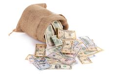 Money in the bag. Royalty Free Stock Image
